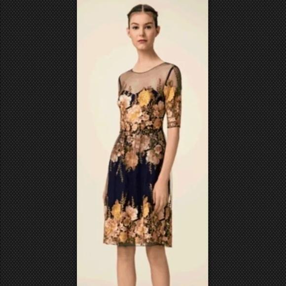 7cec7e23 Marchesa Dresses   Notte Navy Blue Embroidered Dress   Poshmark